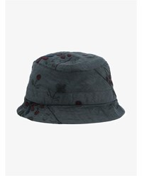 By Walid Floral Embroidered Linen Bucket Hat Grey Linen Denim