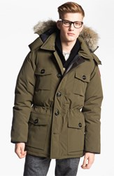 Men's Canada Goose 'Banff' Slim Fit Parka With Genuine Coyote Fur Trim Military Green