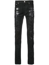 Fagassent Spray Painted Skinny Jeans Black