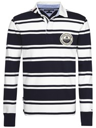 Tommy Hilfiger Long Sleeve Striped Rugby Shirt Navy White