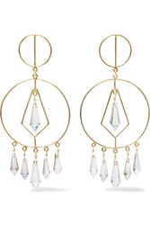 Mercedes Salazar Gold Tone Crystal Earrings One Size