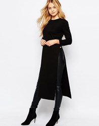 Jdy Long Sleeve Longline Side Split Top Black