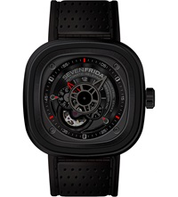 Seven Friday P3 01 Leather And Rubber Watch Black