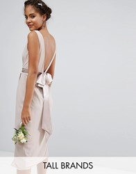 Tfnc Tall Wedding Wrap Midi Dress With Bow Back Mink Pink