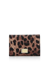 Dolce And Gabbana Leopard Print Card Holder Natural