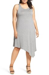 Sejour Plus Size Women's Asymmetrical Jersey Midi Dress Heather Grey Dark