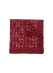 Isaia 60Th Anniversary Print Linen Pocket Square Red