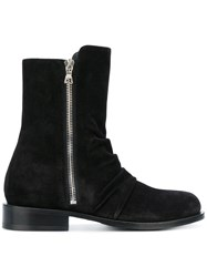 Amiri Ankle Zip Boots Leather Suede Black