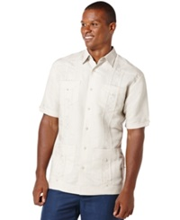 Cubavera Short Sleeve Embroidered Guayabera Shirt Natural Linen