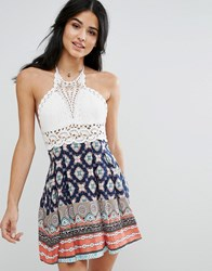 Kiss The Sky Crochet Print Skater Dress Print Multi