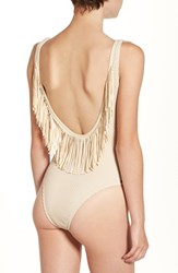 Rip Curl Women's 'Joyride' Fringe One Piece Swimsuit Natural