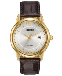 Citizen Men's Eco Drive Brown Leather Strap Watch 40Mm Aw1232 04A