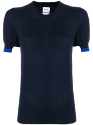 Barrie Classic Fitted Knitted T Shirt Cashmere Blue