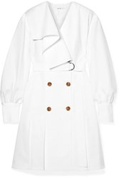 Adeam Belted Twill Dress White