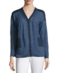 Lafayette 148 New York V Neck Snap Front Long Sleeve Cardigan Nu Blue Melange