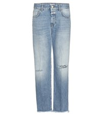 Closed Jay Mid Rise Boyfriend Distressed Jeans Blue