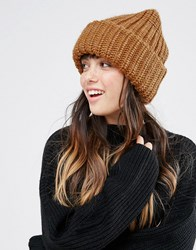 Monki Cable Knit Beanie Hat Brown