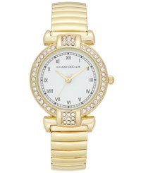 Charter Club Women's Gold Tone Pave Stretch Bracelet Watch 30Mm Only At Macy's