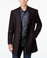 Tallia Navy Wool Blend Coat With Faux Suede Trim