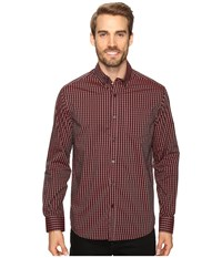 Kenneth Cole Long Sleeve Button Down Collar One Pocket Gingham Crimson Combo Men's Long Sleeve Button Up Red