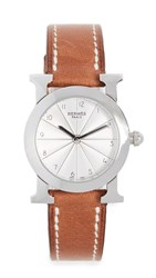Wgaca What Goes Around Comes Around Hermes H Hour Watch Brown Silver