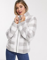 Abercrombie And Fitch Check Fleece Jacket Grey