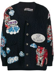 Valentino Tiger Embroidered Cardigan Blue