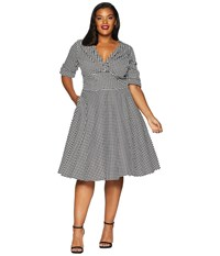 Unique Vintage Plus Size 1950S Delores Swing Dress With Sleeves Black White Houndstooth