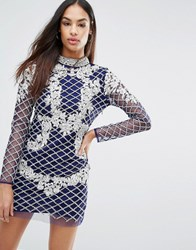 A Star Is Born High Neck Long Sleeve Heavily Embellished Dress Navy