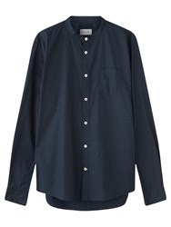 Jigsaw Micro Dot Grandad Slim Shirt Navy