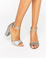 Miss Kg Block Heeled Sandals Silver