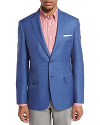 Brioni Check Two Button Sport Coat Light Blue Red