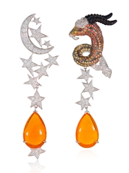 Lydia Courteille 13Th Sign Collection Earrings Orange Opal