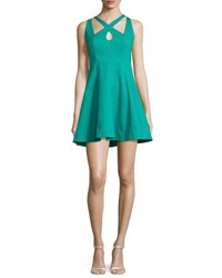 Halston Crisscross Front Fit And Flare Dress Clover