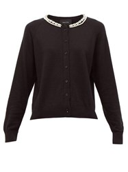 Simone Rocha Pearl And Crystal Embellished Wool Blend Cardigan Black Multi