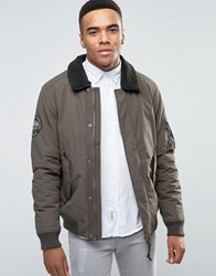 Jack And Jones Vintage Bomber Jacket With Fleece Collar Green