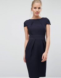 Closet London Cap Sleeve Midi Pencil Dress With Tie Back Navy