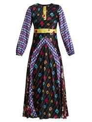 Duro Olowu Contrast Panel Floral And Check Print Satin Dress Multi