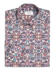 Eton Printed Point Collar Shirt Flower Print