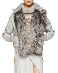Prabal Gurung Cashmere Blend Fox Fur Trimmed Baseball Jacket