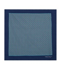 Salvatore Ferragamo Oval Loop Silk Handkerchief Unisex Blue