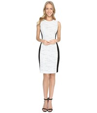 Calvin Klein Tweed Jacquard Sheath Dress Soft White Women's Dress