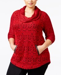Styleandco. Style Co. Plus Size Cowl Neck Jacquard Top Only At Macy's Winter Aztec Red