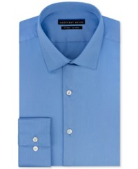Geoffrey Beene Men's Fitted No Iron Stretch Sateen Dress Shirt Light Blue