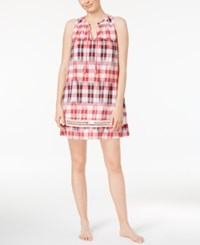 Lucky Brand Crochet Trimmed Printed Cotton Nightgown Plaid