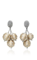 Oscar De La Renta Triple Ball Polka Dot Earrings Gold