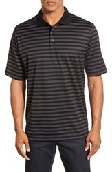 Bugatchi Men's Short Sleeve Stripe Cotton Polo Black