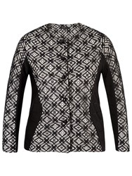 Chesca Lace Trim Ottoman Jersey Jacket Black Ivory