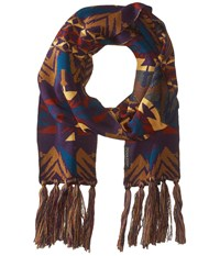Pendleton Long Fringe Scarf Echo Peaks Purple Scarves Brown