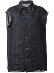 Rick Owens Drkshdw Distressed Sleeveless Denim Jacket Women Cotton S Blue
